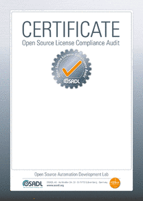 Certificate template of the OSADL Open Source License Compliance Audit (LCA)