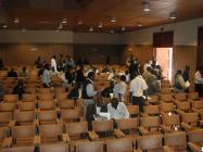 Students and delegates leaving auditorium during a conference break in 2009