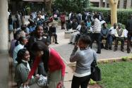 Strathmore students at a courtyard at the University