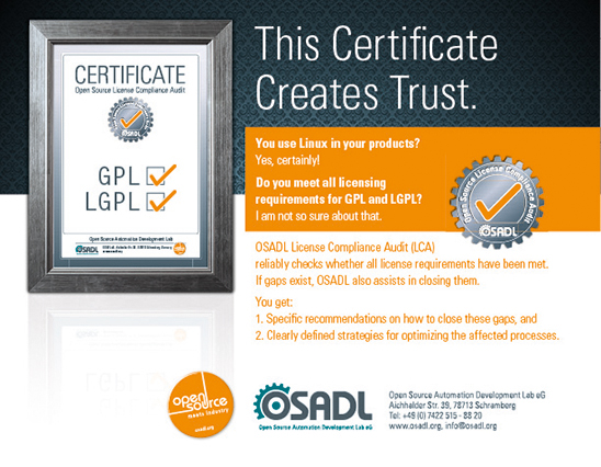This certificate creates trust. The OSADL License Compliance Audit (LCA) reliably checks whether all license requirements have been met.
